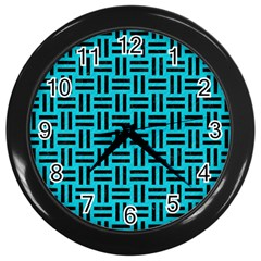 Woven1 Black Marble & Turquoise Colored Pencil Wall Clocks (black) by trendistuff