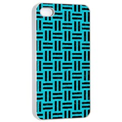 Woven1 Black Marble & Turquoise Colored Pencil Apple Iphone 4/4s Seamless Case (white) by trendistuff