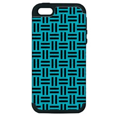 Woven1 Black Marble & Turquoise Colored Pencil Apple Iphone 5 Hardshell Case (pc+silicone) by trendistuff