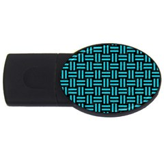 Woven1 Black Marble & Turquoise Colored Pencil (r) Usb Flash Drive Oval (2 Gb) by trendistuff