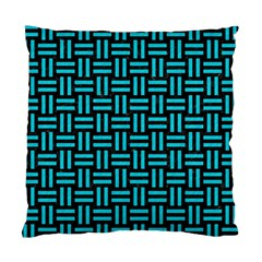 Woven1 Black Marble & Turquoise Colored Pencil (r) Standard Cushion Case (one Side) by trendistuff