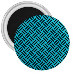 Woven2 Black Marble & Turquoise Colored Pencil 3  Magnets by trendistuff