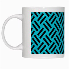 Woven2 Black Marble & Turquoise Colored Pencil White Mugs