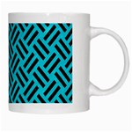 WOVEN2 BLACK MARBLE & TURQUOISE COLORED PENCIL White Mugs Right