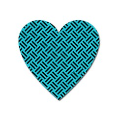 Woven2 Black Marble & Turquoise Colored Pencil Heart Magnet by trendistuff