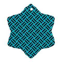 Woven2 Black Marble & Turquoise Colored Pencil Snowflake Ornament (two Sides) by trendistuff