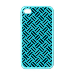 Woven2 Black Marble & Turquoise Colored Pencil Apple Iphone 4 Case (color) by trendistuff