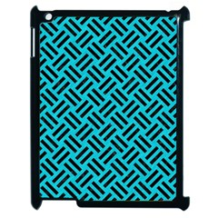 Woven2 Black Marble & Turquoise Colored Pencil Apple Ipad 2 Case (black) by trendistuff