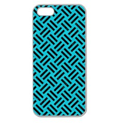 Woven2 Black Marble & Turquoise Colored Pencil Apple Seamless Iphone 5 Case (clear) by trendistuff