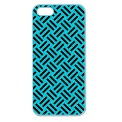 Woven2 Black Marble & Turquoise Colored Pencil Apple Seamless Iphone 5 Case (color) by trendistuff