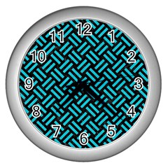Woven2 Black Marble & Turquoise Colored Pencil (r) Wall Clocks (silver)  by trendistuff