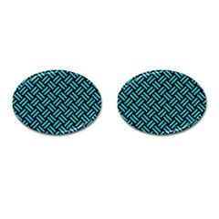 Woven2 Black Marble & Turquoise Colored Pencil (r) Cufflinks (oval) by trendistuff