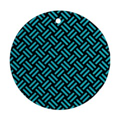 Woven2 Black Marble & Turquoise Colored Pencil (r) Round Ornament (two Sides) by trendistuff
