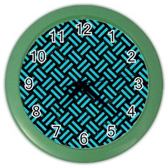 Woven2 Black Marble & Turquoise Colored Pencil (r) Color Wall Clocks by trendistuff