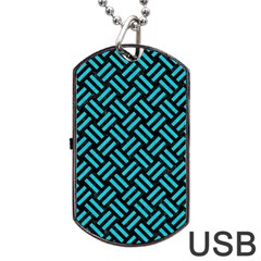 Woven2 Black Marble & Turquoise Colored Pencil (r) Dog Tag Usb Flash (two Sides) by trendistuff