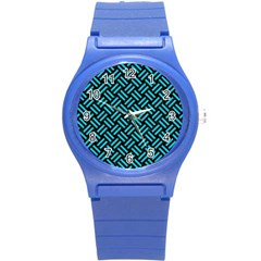 Woven2 Black Marble & Turquoise Colored Pencil (r) Round Plastic Sport Watch (s) by trendistuff