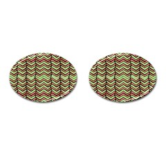 Zig Zag Multicolored Ethnic Pattern Cufflinks (oval) by dflcprintsclothing