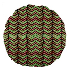 Zig Zag Multicolored Ethnic Pattern Large 18  Premium Round Cushions by dflcprintsclothing