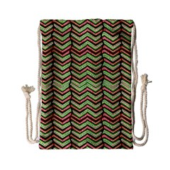 Zig Zag Multicolored Ethnic Pattern Drawstring Bag (small) by dflcprintsclothing