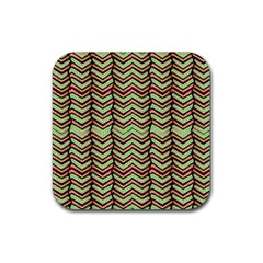 Zig Zag Multicolored Ethnic Pattern Rubber Coaster (square)  by dflcprintsclothing