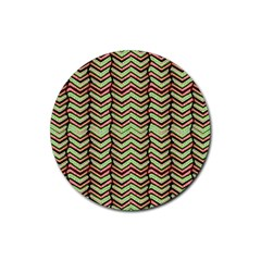 Zig Zag Multicolored Ethnic Pattern Rubber Coaster (round)  by dflcprintsclothing