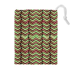 Zig Zag Multicolored Ethnic Pattern Drawstring Pouches (extra Large) by dflcprintsclothing