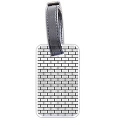 Brick1 Black Marble & White Leather Luggage Tags (one Side)  by trendistuff