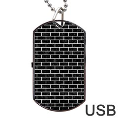 Brick1 Black Marble & White Leather (r) Dog Tag Usb Flash (two Sides) by trendistuff