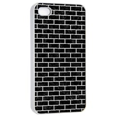 Brick1 Black Marble & White Leather (r) Apple Iphone 4/4s Seamless Case (white) by trendistuff
