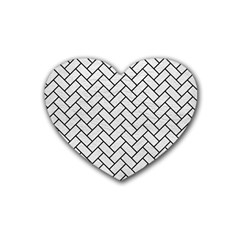 Brick2 Black Marble & White Leather Rubber Coaster (heart)  by trendistuff