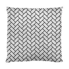 Brick2 Black Marble & White Leather Standard Cushion Case (two Sides) by trendistuff