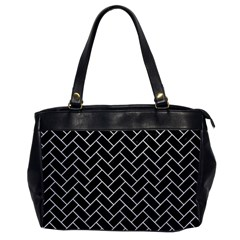 Brick2 Black Marble & White Leather (r) Office Handbags by trendistuff