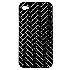 Brick2 Black Marble & White Leather (r) Apple Iphone 4/4s Hardshell Case (pc+silicone) by trendistuff