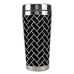 Brick2 Black Marble & White Leather (r) Stainless Steel Travel Tumblers by trendistuff