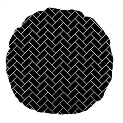 Brick2 Black Marble & White Leather (r) Large 18  Premium Flano Round Cushions by trendistuff