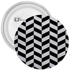 Chevron1 Black Marble & White Leather 3  Buttons by trendistuff