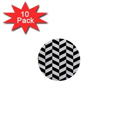 Chevron1 Black Marble & White Leather 1  Mini Buttons (10 Pack)