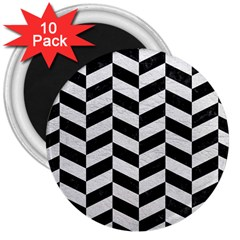 Chevron1 Black Marble & White Leather 3  Magnets (10 Pack)