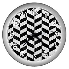 Chevron1 Black Marble & White Leather Wall Clocks (silver)  by trendistuff