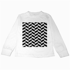 Chevron1 Black Marble & White Leather Kids Long Sleeve T Shirts