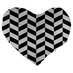 Chevron1 Black Marble & White Leather Large 19  Premium Heart Shape Cushions by trendistuff