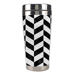 Chevron1 Black Marble & White Leather Stainless Steel Travel Tumblers by trendistuff