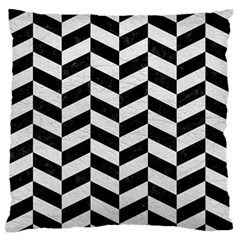 Chevron1 Black Marble & White Leather Standard Flano Cushion Case (two Sides) by trendistuff