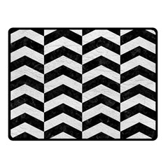 Chevron2 Black Marble & White Leather Double Sided Fleece Blanket (small)  by trendistuff