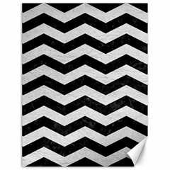 Chevron3 Black Marble & White Leather Canvas 18  X 24