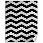 CHEVRON3 BLACK MARBLE & WHITE LEATHER Canvas 18  x 24   24 x18  Canvas - 1