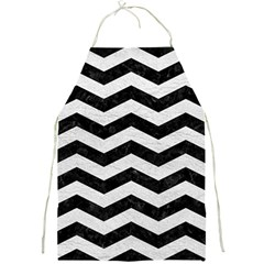 Chevron3 Black Marble & White Leather Full Print Aprons by trendistuff