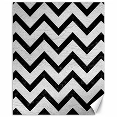 Chevron9 Black Marble & White Leather Canvas 11  X 14   by trendistuff