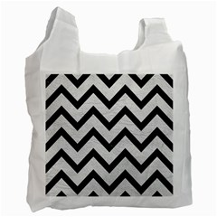 Chevron9 Black Marble & White Leather Recycle Bag (one Side) by trendistuff