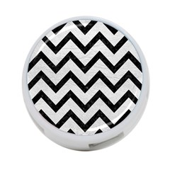Chevron9 Black Marble & White Leather 4 Port Usb Hub (two Sides)  by trendistuff